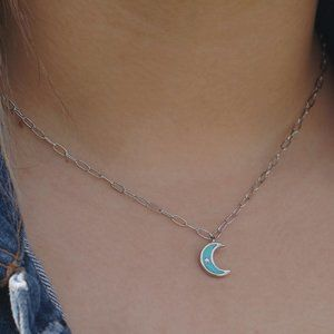 Jewelry - Dainty Teal Enamel Moon Charm on Paper Clip Chain